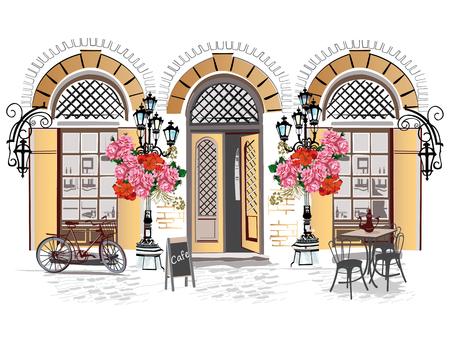 Serie de fondos decorados con flores, vistas antiguas de la ciudad y cafés de la calle. Dibujado a mano ilustración vectorial.