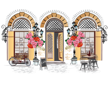Series of backgrounds decorated with flowers, old town views and street cafes. Hand drawn Vector Illustration. 免版税图像 - 69115967