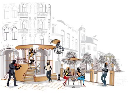 pareja comiendo: gente de la moda en el restaurante. Café de la calle con flores en la ciudad vieja. Los camareros sirven las mesas. Vectores