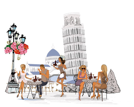 Fashion people in the restaurant. Italian street cafe with flowers in Pisa, The Leaning Tower of Pisa. Waiters serve the tables. Illustration