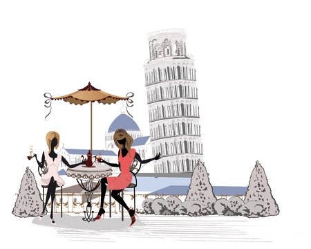 leaning tower of pisa: Fashion people in the restaurant. Italian street cafe with flowers in Pisa, The Leaning Tower of Pisa. Waiters serve the tables. Illustration