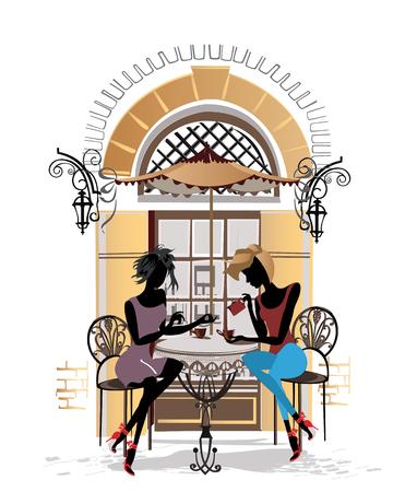 pareja comiendo: gente de la moda en el restaurante. Café de la calle en la ciudad vieja. Chicas que beben el café en la mesa cerca de la ventana retro. Dibujado a mano ilustración vectorial. Vectores