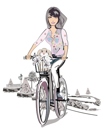 Girl on the bicycle. Ilustrace