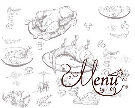 cafe food: Background with food illustrations for restaurant or cafe menu. Illustration