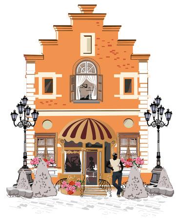 pareja comiendo: Serie de las calles con la gente en la ciudad vieja. Café de la calle. Vectores