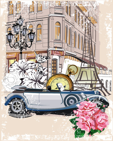 vector backgrounds: Series of vintage backgrounds decorated with retro cars and old city street views. Hand drawn Vector Illustration. Illustration
