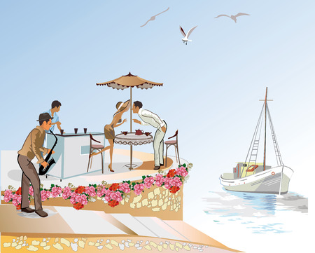 A romantic date in the seaside cafe. Street musician. Illustration