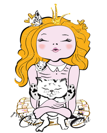 Little girl princess with a kitten in her hands. T-shirt graphics.