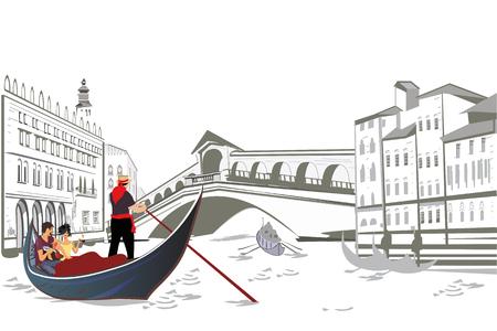 Romantic couple in the gondola travels in Venice.