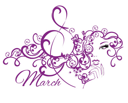 butterfly background: Beautiful woman with long curly hair in lines with a butterfly, background. Pattern face silhouette. 8 March Womens Day greeting card template. Illustration