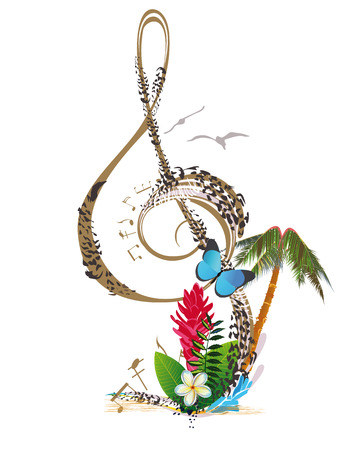 chillout: Abstract treble clef decorated with tropical leaves and flowers
