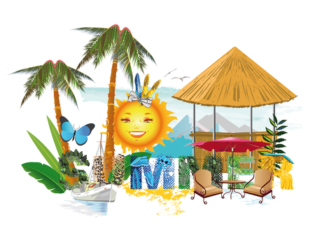 summer nature: Lettering summer with tropical nature. Illustration
