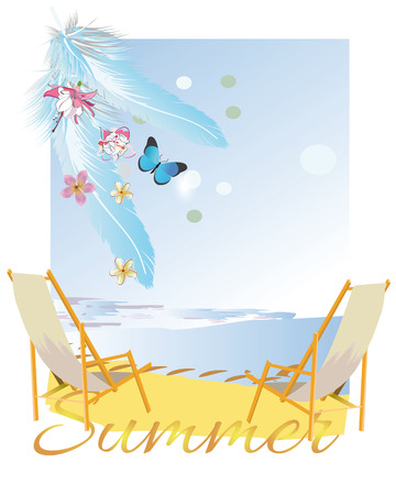 Relax summer background with flowers and feathers. Sea and sand. Illustration