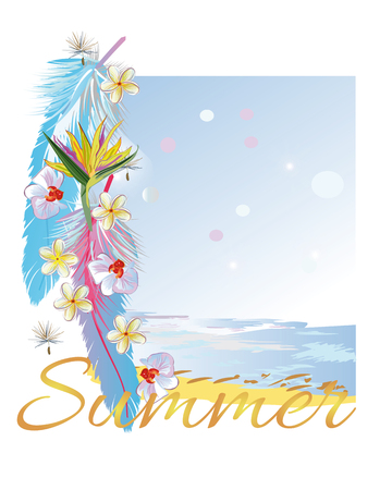 relaxar: Relax summer background with flowers and feathers. Sea and sand. Ilustração