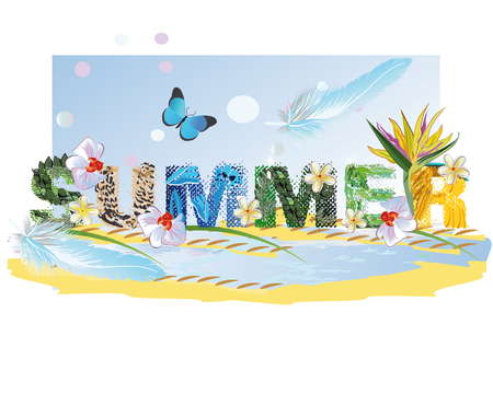 chillout: Lettering summer with animal textures with tropical flowers. Illustration