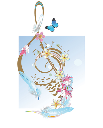 chillout: Abstract treble clef decorated with tropical leaves and flowers. Illustration