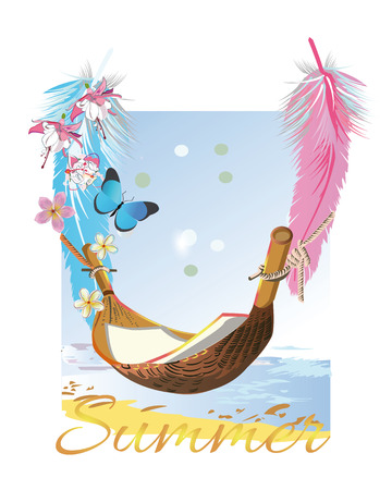 chillout: Relax summer background with flowers and feathers. Sea and sand. Illustration