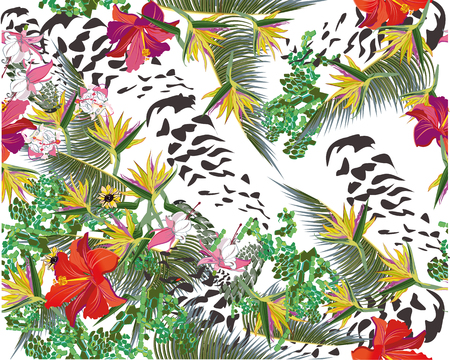 chillout: Summer background with flowers and tropical leaves.