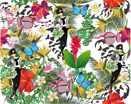 chillout: Summer background with flowers, fashion girl and tropical leaves. Illustration