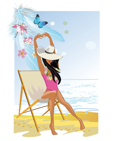 chillout: Fashion girl on the beach. Summer relax background.