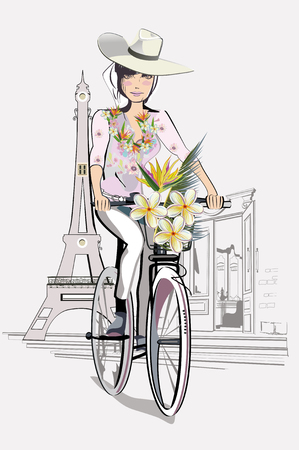 stave: Fashion girl in the hat on the bicycle in Paris. Illustration