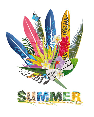 chillout: Summer tropical flowers and feathers.