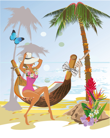 chillout: Fashion girl in hammock. Background with a sandy beach with palm trees and flowers.