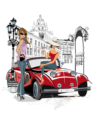 Series of the streets with people in the old city. Fashion girls and a red retro car.