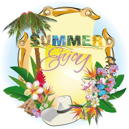 Fond d'été avec une paume et des fleurs. Lettrage d'été avec des textures d'animaux. Banque d'images - 80382154