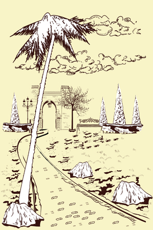 Series of park landscapes views with threes. Footpath in the middle of the lawn. Hand drawn vector illustration.