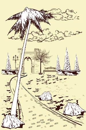 3와 함께 공원 풍경 조회의 시리즈입니다. 잔디밭 중간에 보도입니다. 손으로 그린 된 벡터 일러스트 레이 션.