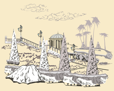 garden path: Series of park landscapes views with threes.  Hand drawn vector illustration.