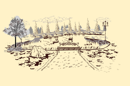 Series of park landscapes views with threes. Bench near the swan lake. Hand drawn illustration.  イラスト・ベクター素材