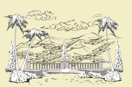 garden path: Park landscape view with trees. Footpath in the middle of the lawn. Hand drawn vector illustration. Sketch background.