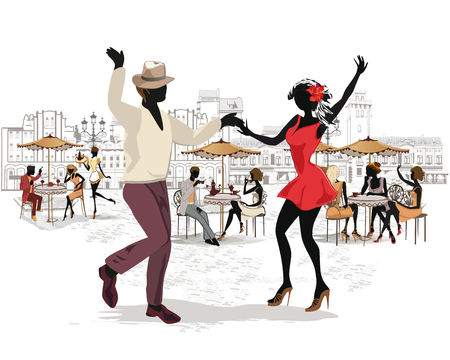 Series of the streets with musicians and dancing couples in the old city. Hand drawn vector illustration with retro buildings. Vettoriali