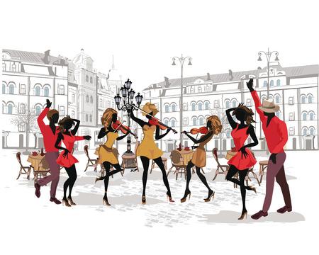 Serie der Straßen mit Musikern und Tanzpaaren in der Altstadt. Hand gezeichnet Vektor-Illustration mit Retro-Gebäude.