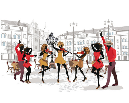 Series of the streets with musicians and dancing couples in the old city. Hand drawn vector illustration with retro buildings. Illustration