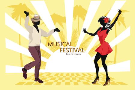 Pareja romántica en apasionantes danzas latinoamericanas. Festival de salsa Fondo dibujado mano del cartel. Ilustración de vector