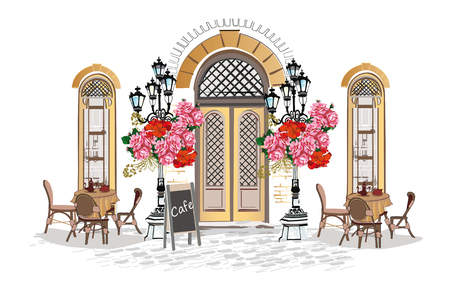 Series of backgrounds decorated with flowers, old town views and street cafes. Hand drawn Vector Illustration of retro windows and cafe tables.