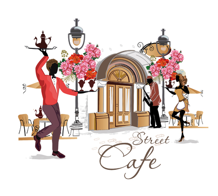 Street cafe with flowers in the old city. Waiters serve the tables. Street jazz musician.  Hand drawn vector.