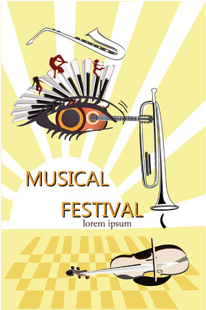 Series of musical backgrounds. Poster with an abstract girls face with a guitar, a  trumpet, a violin and a piano. Illustration