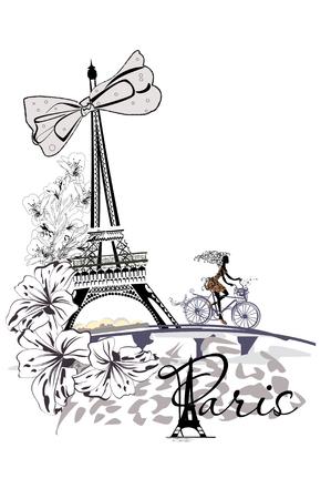 Fashion girl monte une bicyclette, décorée d'une palette musicale et de papillons, à Paris. La tour Eiffel.