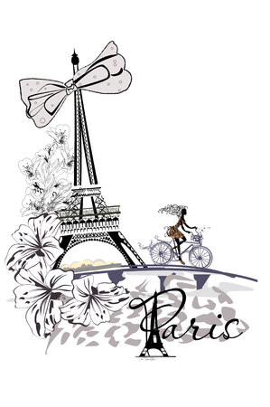 Fashion girl rides a bicycle, decorated with a musical stave and butterflies, in Paris. The Eiffel Tower.