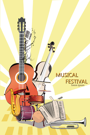 Series of musical backgrounds. Jazz poster. Hand drawn vector.