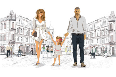 Family walking the streets of the old city. Illustration