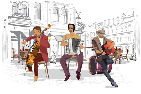 Series of the streets with musicians in the old city.