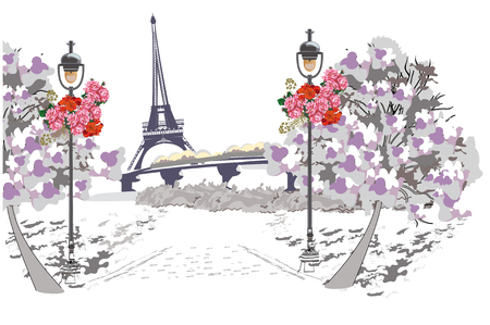 parisian: Background with the view of the Eiffel tower in Paris. Hand drawn illustration.
