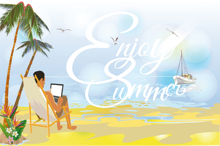 chillout: Series of relax summer backgrounds. A man with laptop on the beach. Summer relax background. Illustration