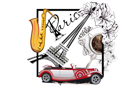 Coffee cup with a spoon and the Eiffel tower. Saxophone and a retro car. Hand drawn vector. Illustration