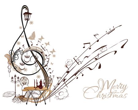 Musica per le vacanze. Estratto chiave di violino decorato con i giocattoli di Natale, farfalle, note. Archivio Fotografico - 81385571